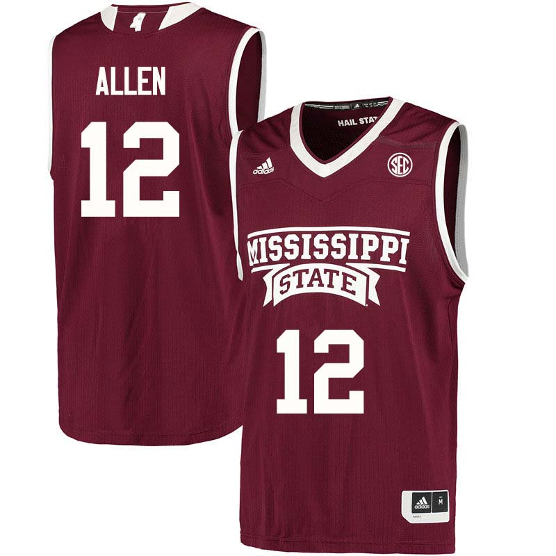 Men #12 Jacaira Allen Mississippi State Bulldogs College Basketball Jerseys Sale-Maroon