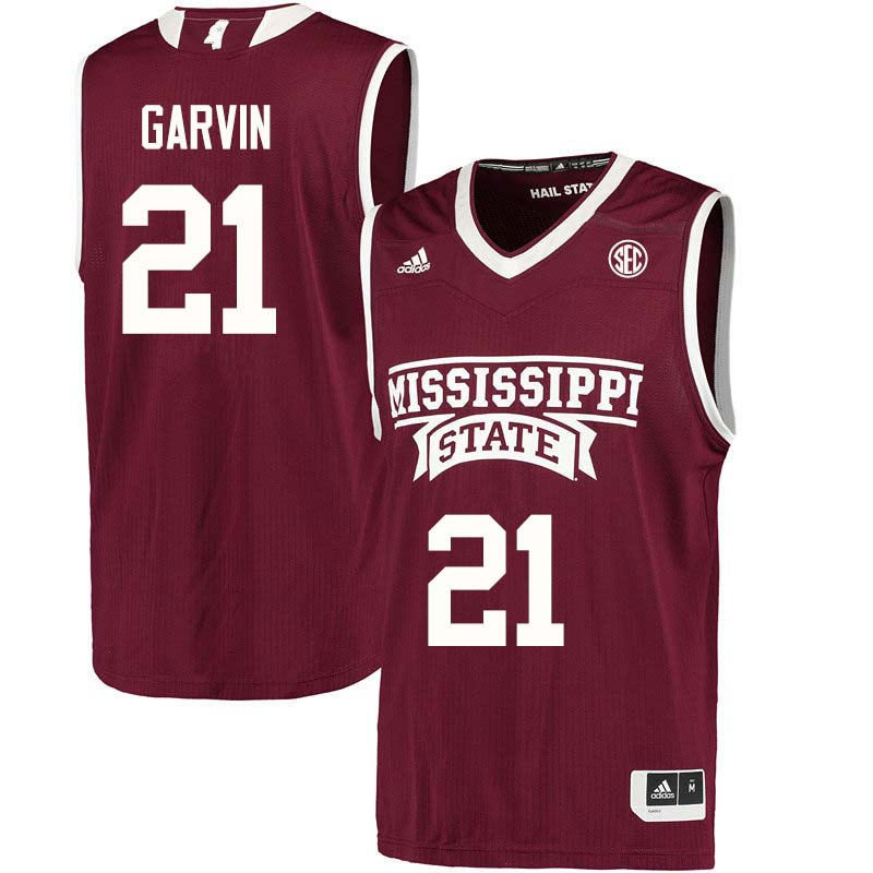 Men #21 Jonika Garvin Mississippi State Bulldogs College Basketball Jerseys Sale-Maroon