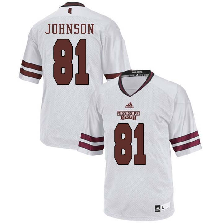 Men #81 Justin Johnson Mississippi State Bulldogs College Football Jerseys Sale-White