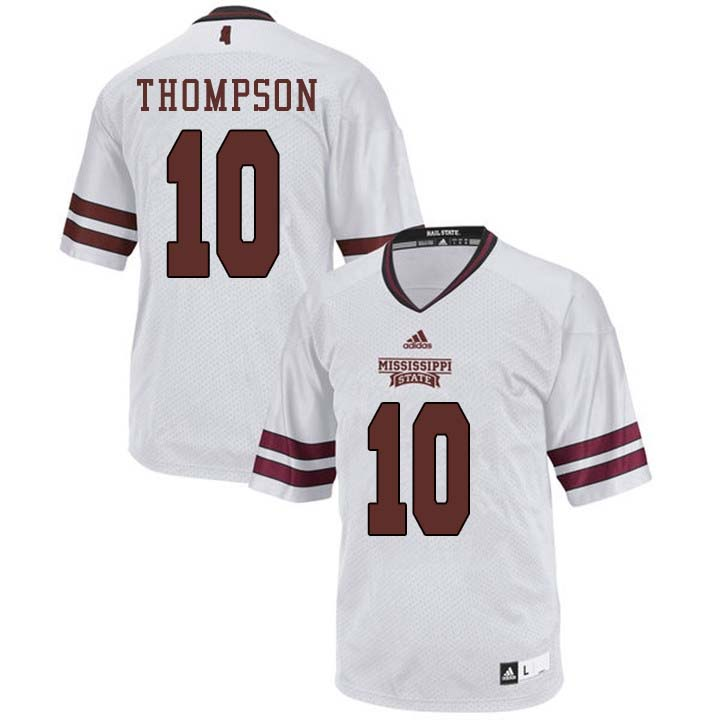 Men #10 Keytaon Thompson Mississippi State Bulldogs College Football Jerseys Sale-White