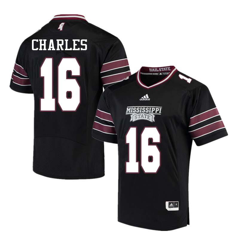 Men #16 Korey Charles Mississippi State Bulldogs College Football Jerseys Sale-Black