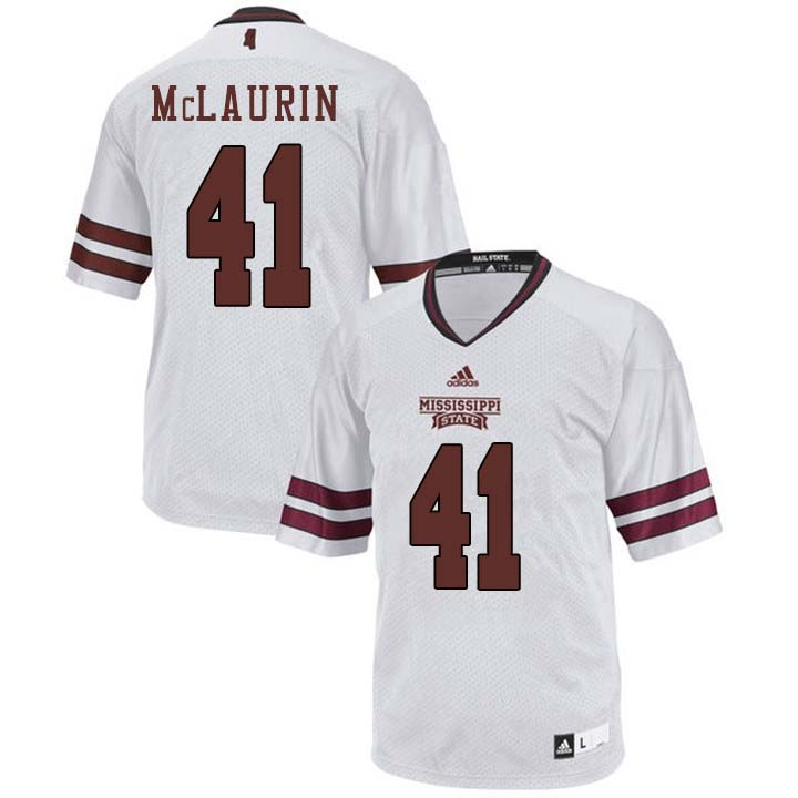 Men #41 Mark McLaurin Mississippi State Bulldogs College Football Jerseys Sale-White
