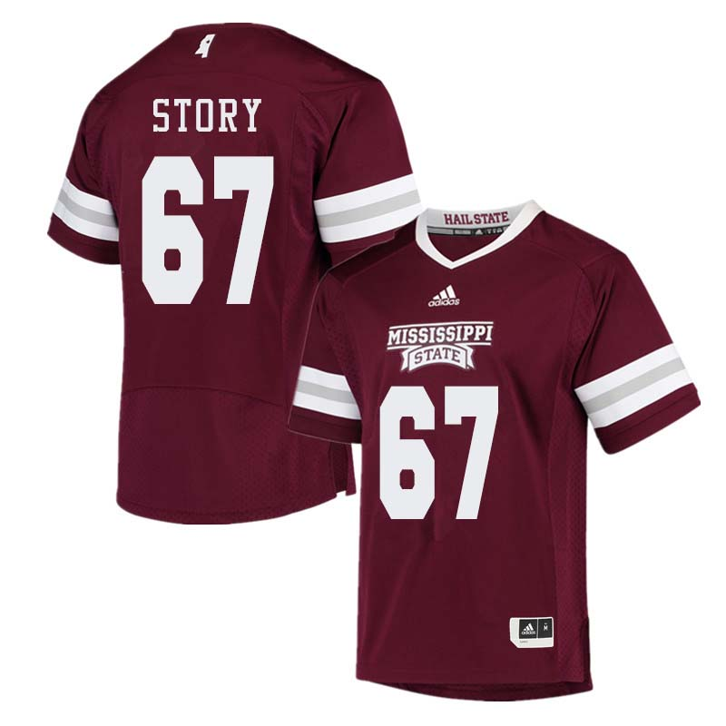 Men #67 Michael Story Mississippi State Bulldogs College Football Jerseys Sale-Maroon