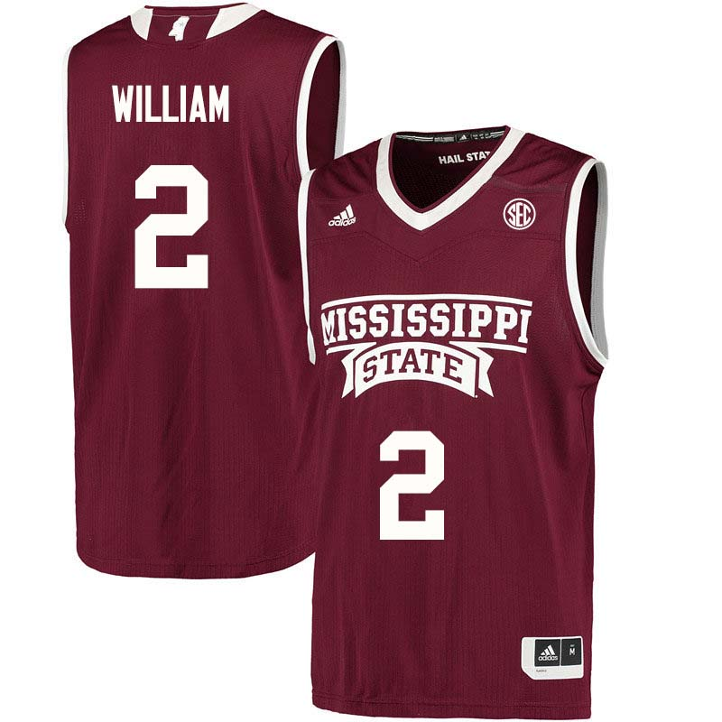 Men #2 Morgan William Mississippi State Bulldogs College Basketball Jerseys Sale-Maroon