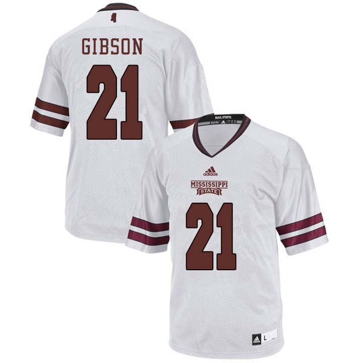 Men #21 Nick Gibson Mississippi State Bulldogs College Football Jerseys Sale-White