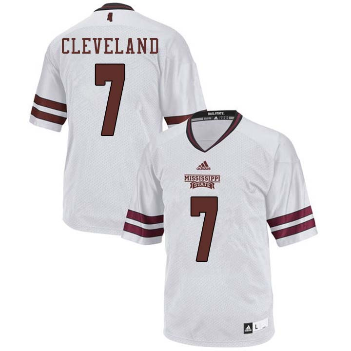Men #7 Tolando Cleveland Mississippi State Bulldogs College Football Jerseys Sale-White