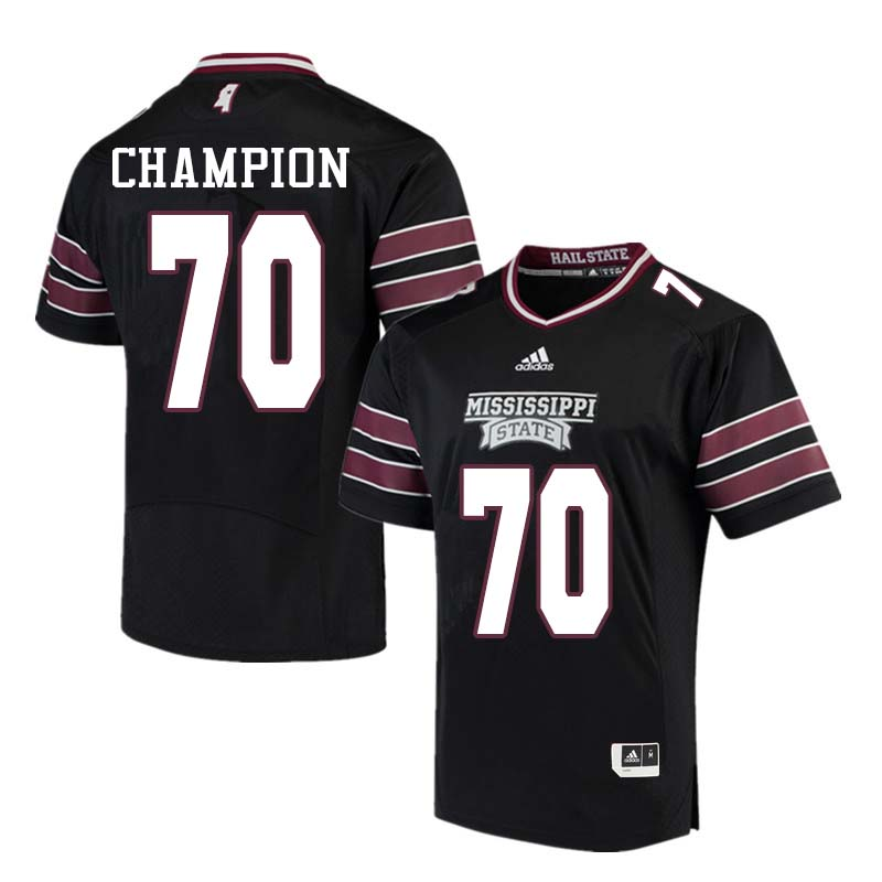 Men #70 Tommy Champion Mississippi State Bulldogs College Football Jerseys Sale-Black