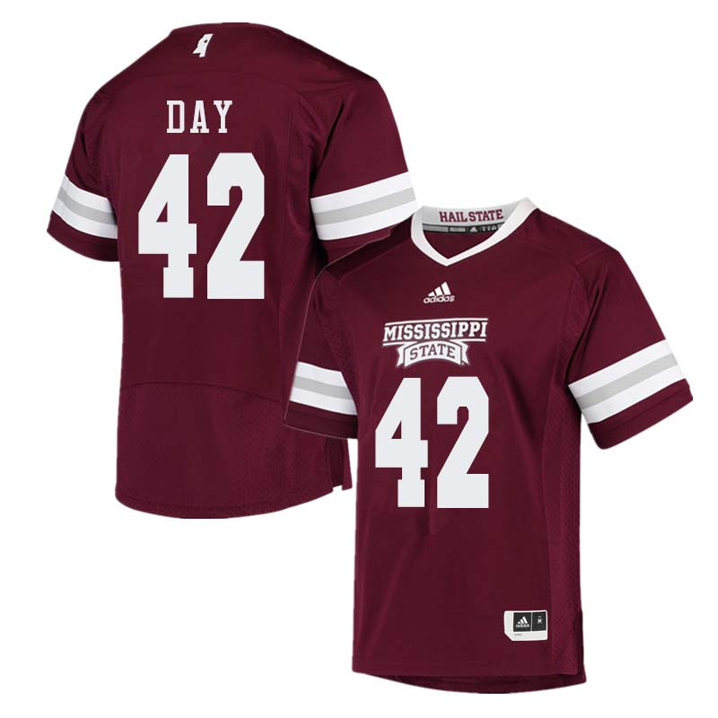Men #42 Tucker Day Mississippi State Bulldogs College Football Jerseys Sale-Maroon