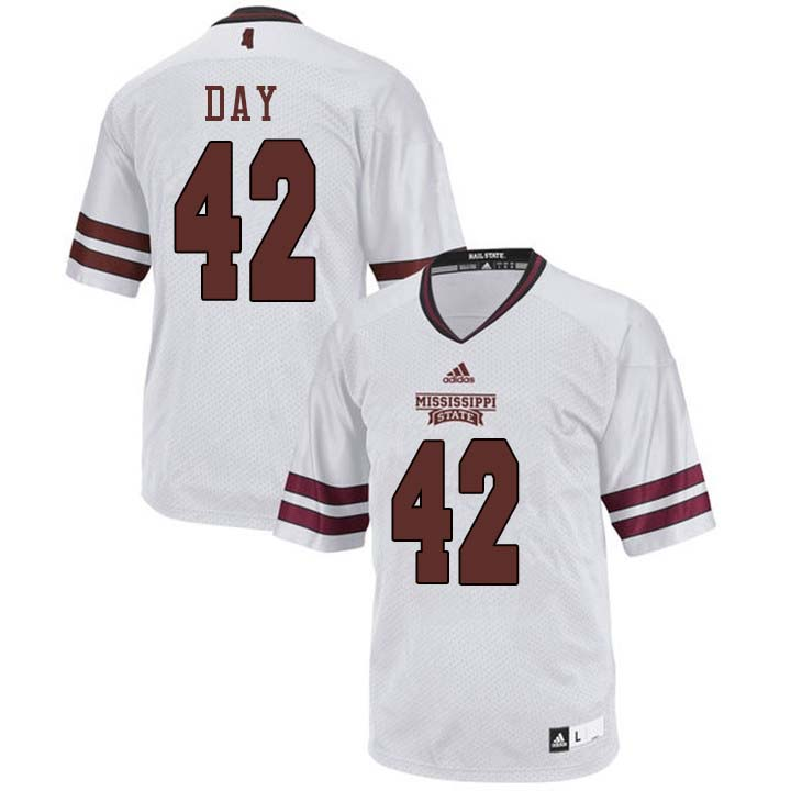 Men #42 Tucker Day Mississippi State Bulldogs College Football Jerseys Sale-White