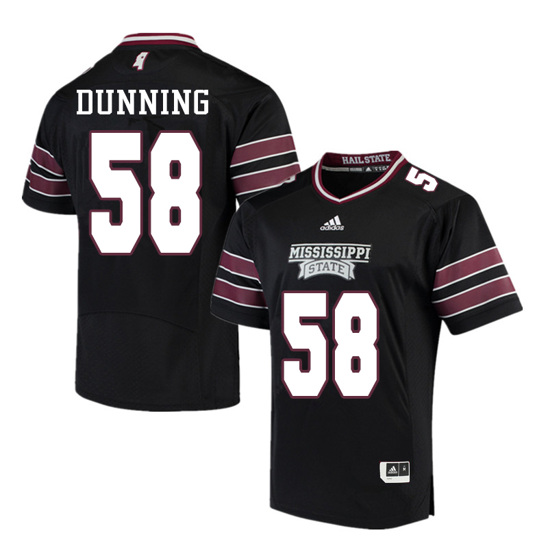 Men #58 Tyler Dunning Mississippi State Bulldogs College Football Jerseys Sale-Black