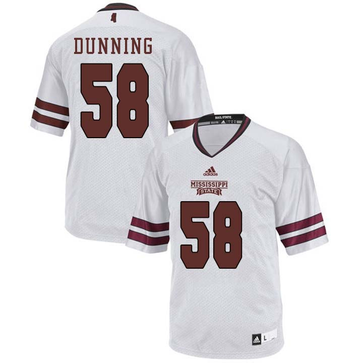 Men #58 Tyler Dunning Mississippi State Bulldogs College Football Jerseys Sale-White