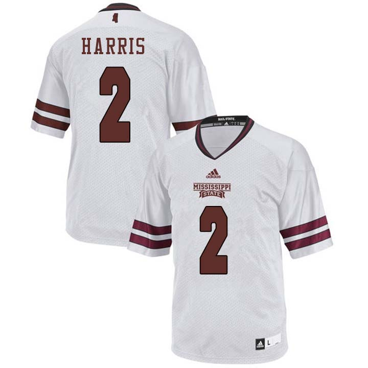 Men #2 Walt Harris Mississippi State Bulldogs College Football Jerseys Sale-White