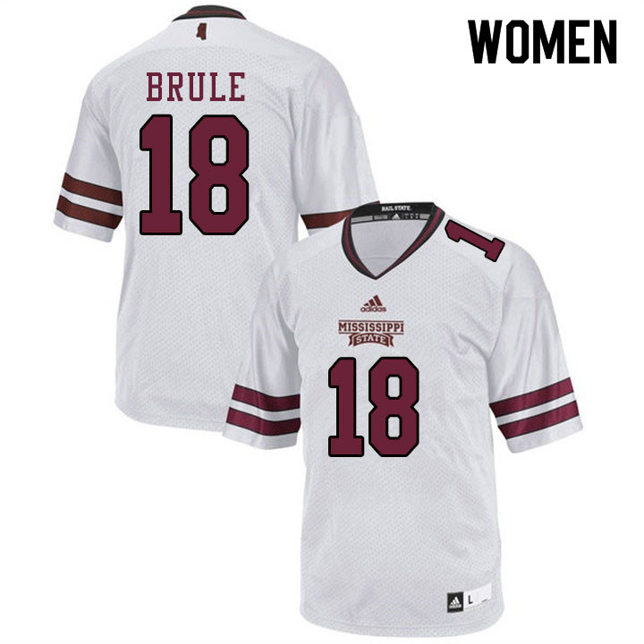 Women #18 Aaron Brule Mississippi State Bulldogs College Football Jerseys Sale-White