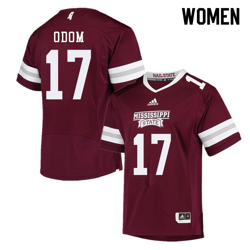 Women #17 Aaron Odom Mississippi State Bulldogs College Football Jerseys Sale-Maroon