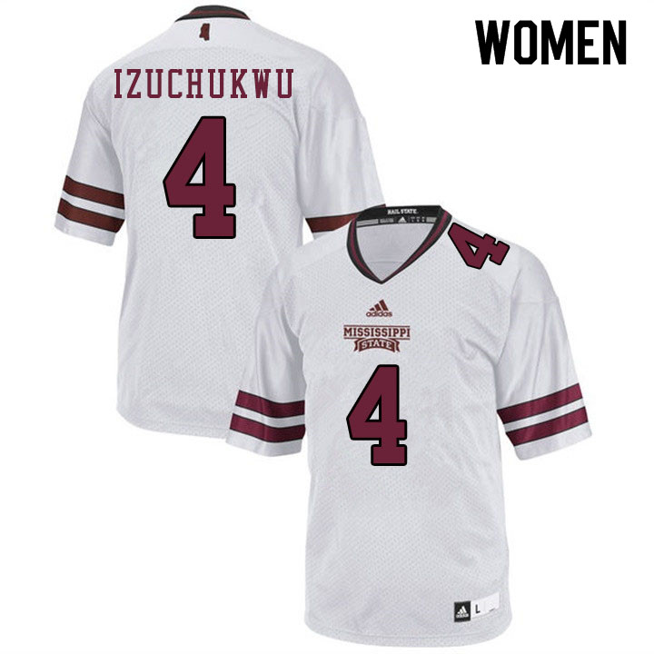 Women #4 Ani Izuchukwu Mississippi State Bulldogs College Football Jerseys Sale-White