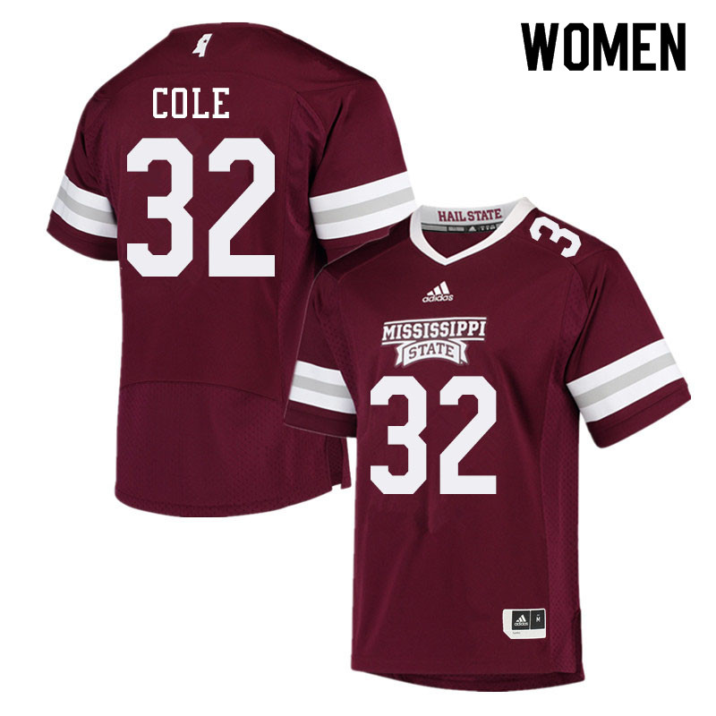 Women #32 Brian Cole Mississippi State Bulldogs College Football Jerseys Sale-Maroon