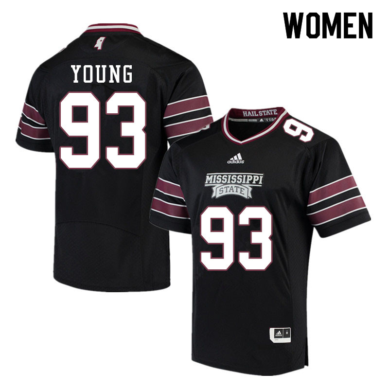 Women #93 Cameron Young Mississippi State Bulldogs College Football Jerseys Sale-Black