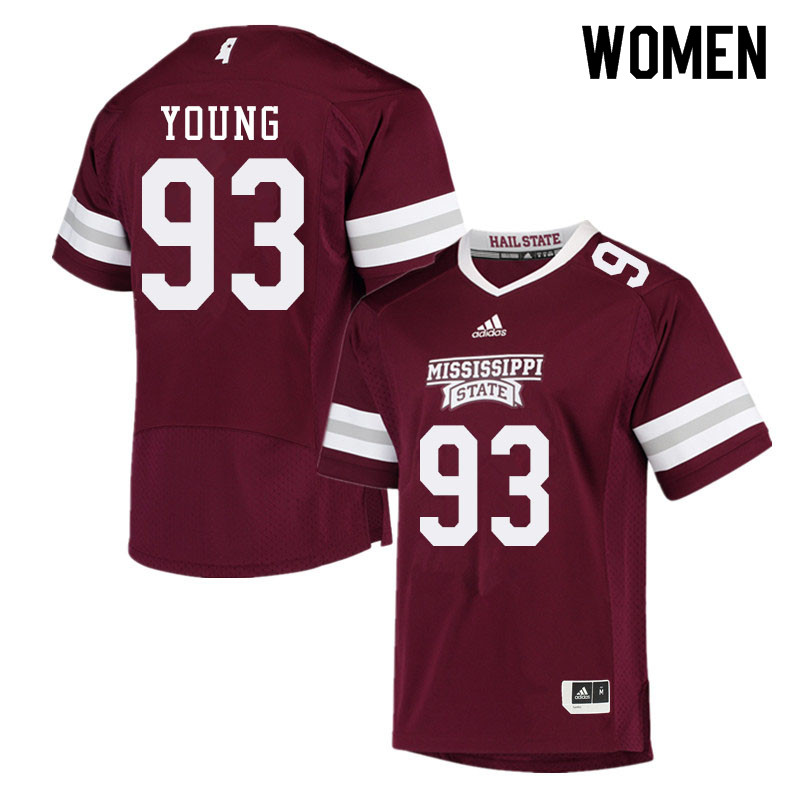 Women #93 Cameron Young Mississippi State Bulldogs College Football Jerseys Sale-Maroon