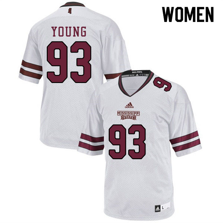 Women #93 Cameron Young Mississippi State Bulldogs College Football Jerseys Sale-White