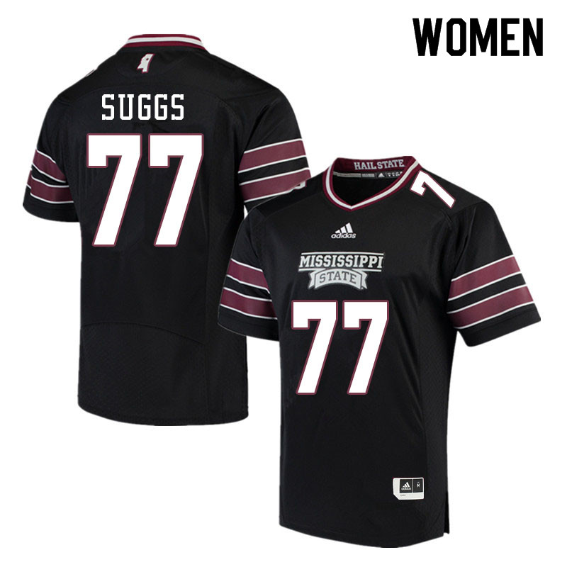 Women #77 Cordavien Suggs Mississippi State Bulldogs College Football Jerseys Sale-Black