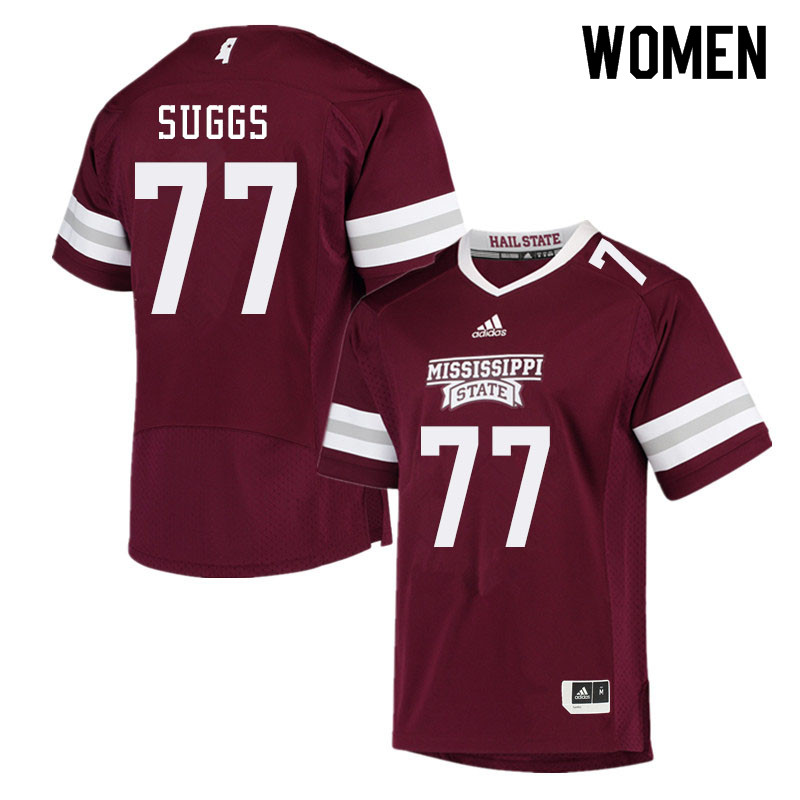 Women #77 Cordavien Suggs Mississippi State Bulldogs College Football Jerseys Sale-Maroon