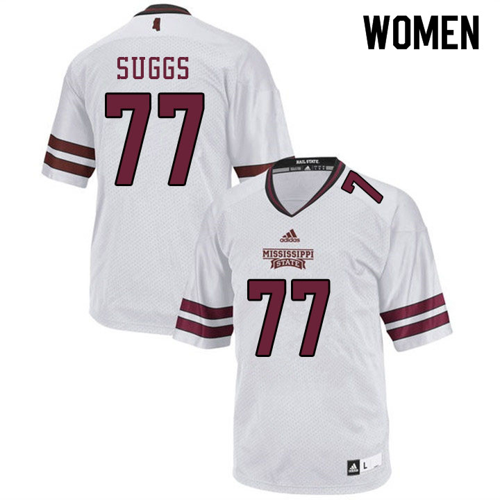 Women #77 Cordavien Suggs Mississippi State Bulldogs College Football Jerseys Sale-White