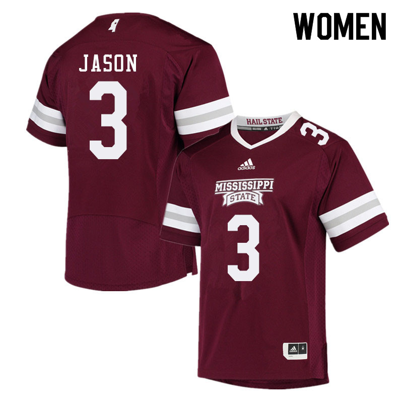 Women #3 Devonta Jason Mississippi State Bulldogs College Football Jerseys Sale-Maroon