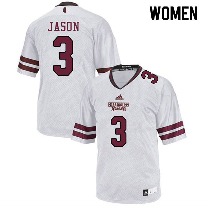 Women #3 Devonta Jason Mississippi State Bulldogs College Football Jerseys Sale-White