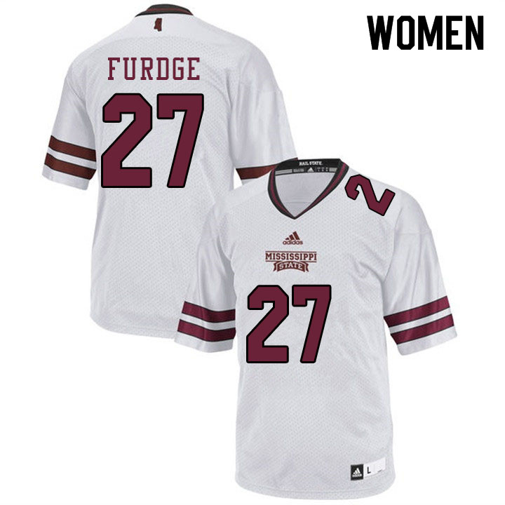 Women #27 Esaias Furdge Mississippi State Bulldogs College Football Jerseys Sale-White