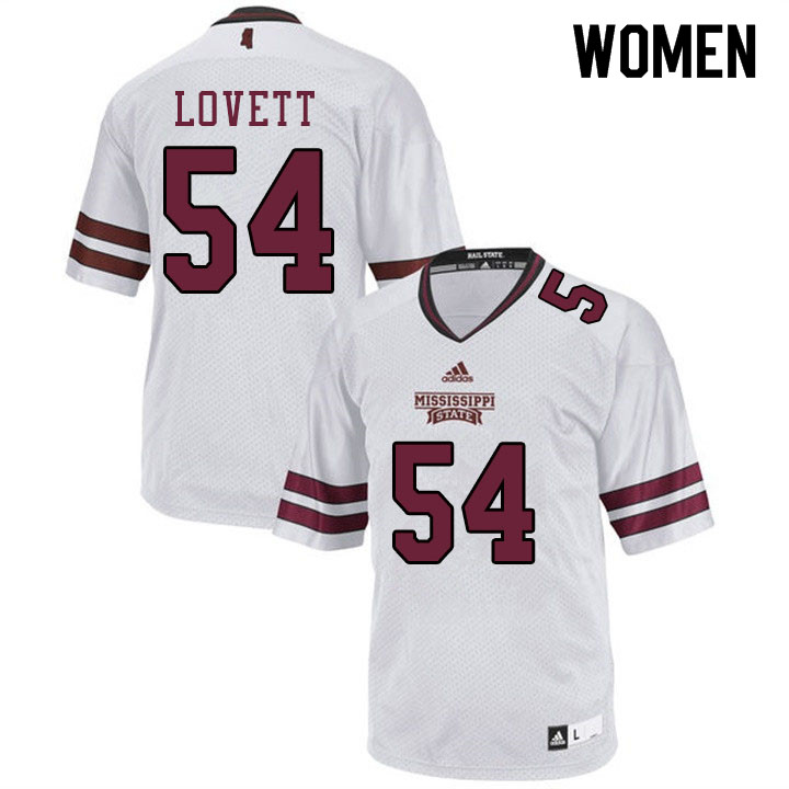 Women #54 Fabien Lovett Mississippi State Bulldogs College Football Jerseys Sale-White