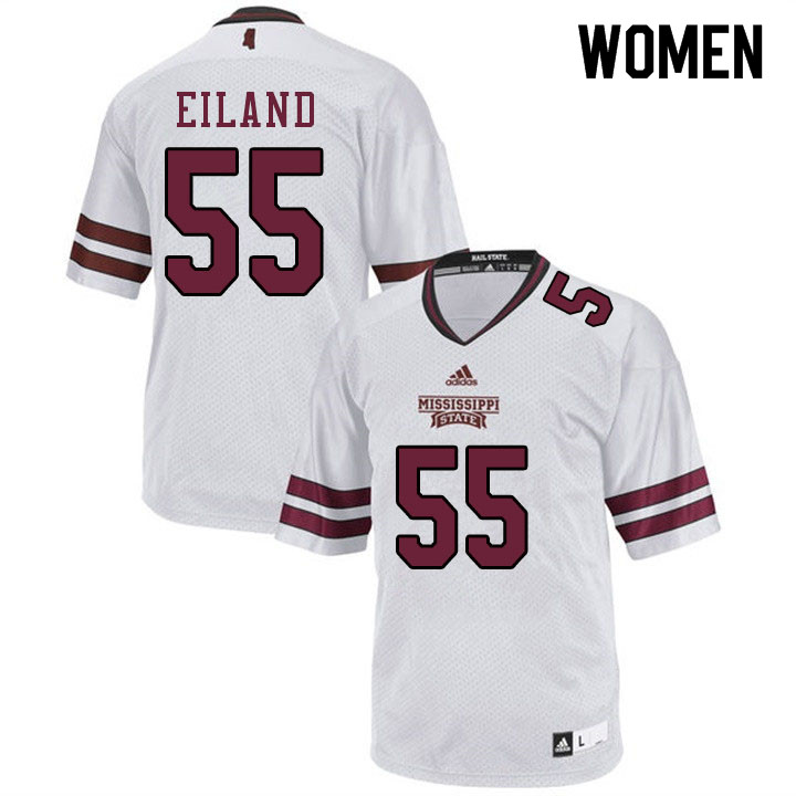 Women #55 Greg Eiland Mississippi State Bulldogs College Football Jerseys Sale-White