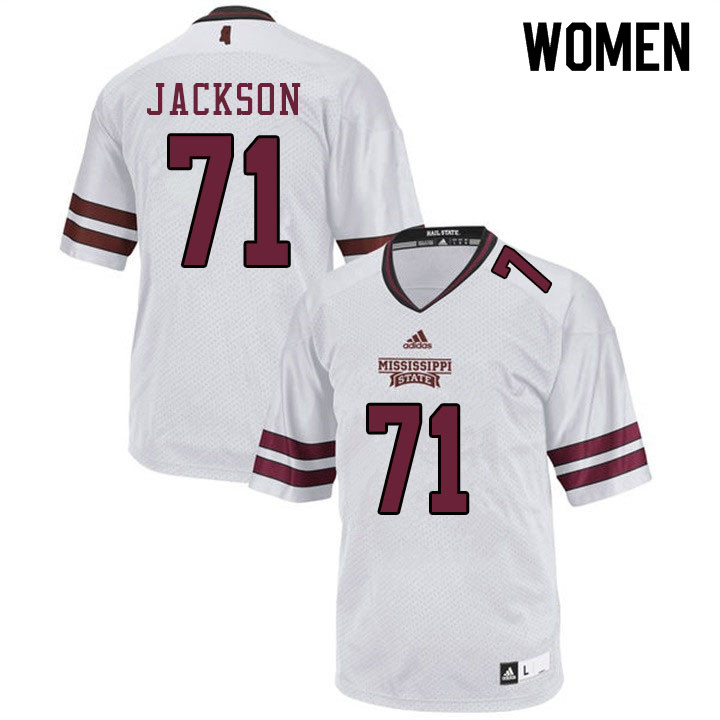 Women #71 James Jackson Mississippi State Bulldogs College Football Jerseys Sale-White