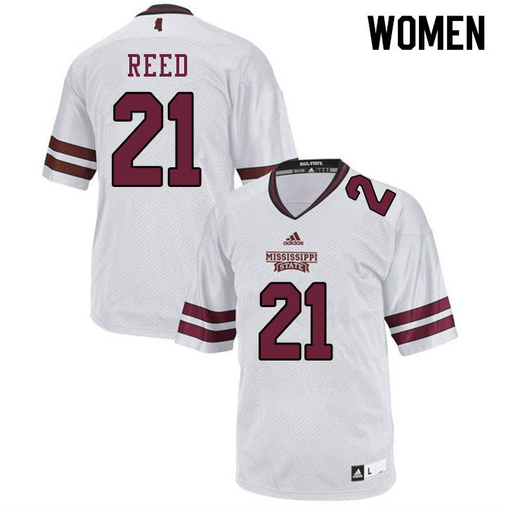 Women #21 Jaylon Reed Mississippi State Bulldogs College Football Jerseys Sale-White