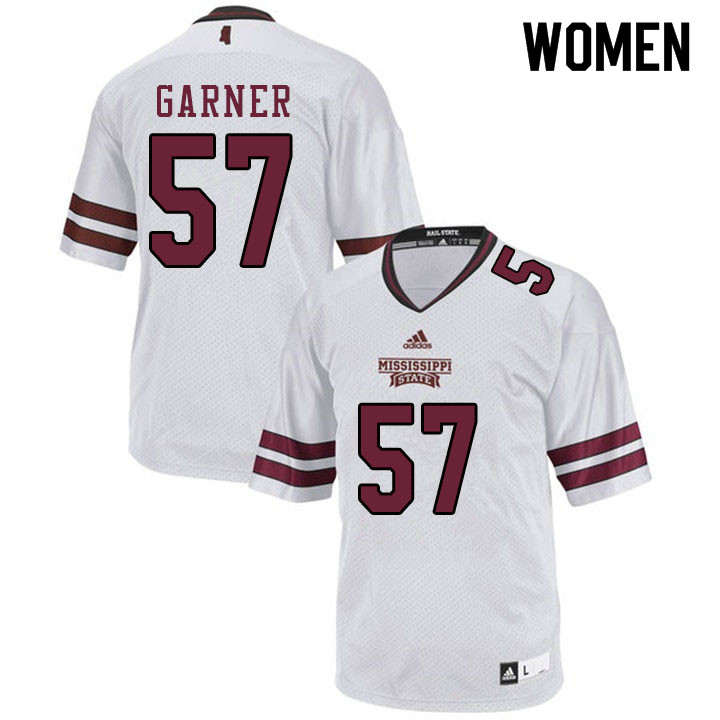 Women #57 John Garner Mississippi State Bulldogs College Football Jerseys Sale-White