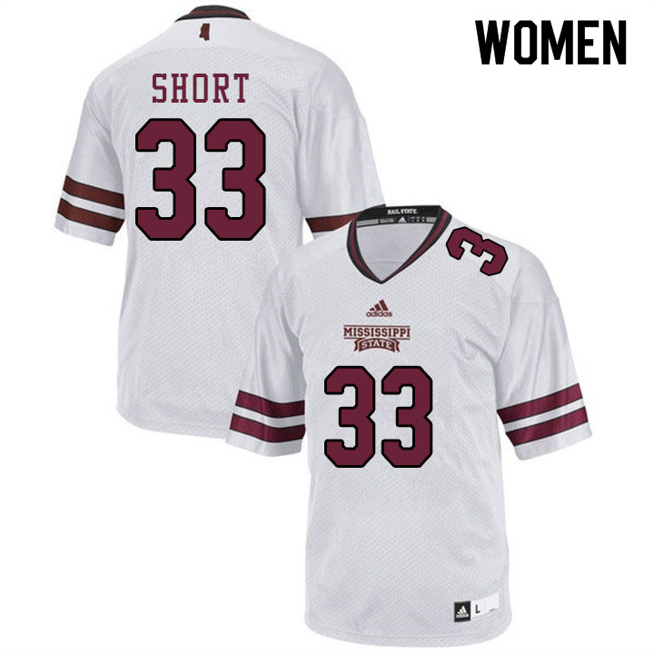 Women #33 Joshua Short Mississippi State Bulldogs College Football Jerseys Sale-White