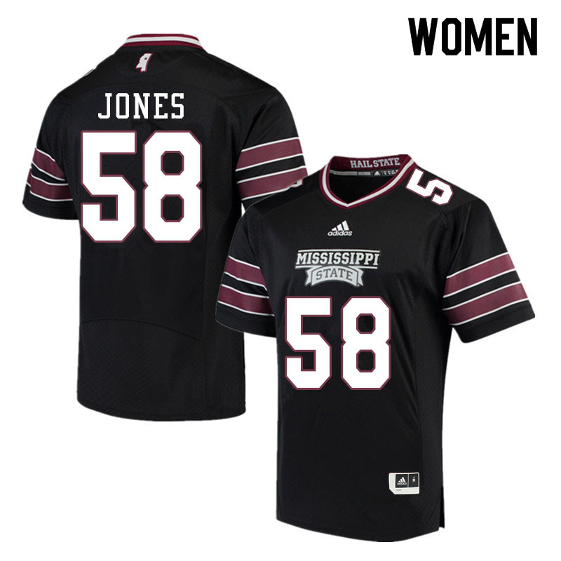 Women #58 Kameron Jones Mississippi State Bulldogs College Football Jerseys Sale-Black