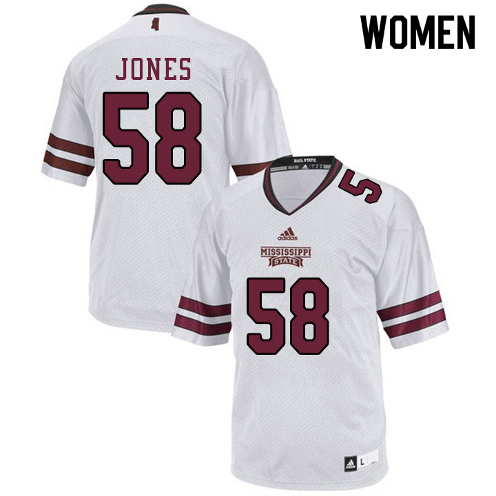 Women #58 Kameron Jones Mississippi State Bulldogs College Football Jerseys Sale-White