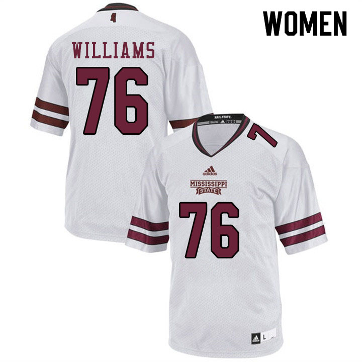 Women #76 Kieran Williams Mississippi State Bulldogs College Football Jerseys Sale-White