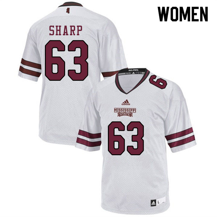 Women #63 LaQuinston Sharp Mississippi State Bulldogs College Football Jerseys Sale-White