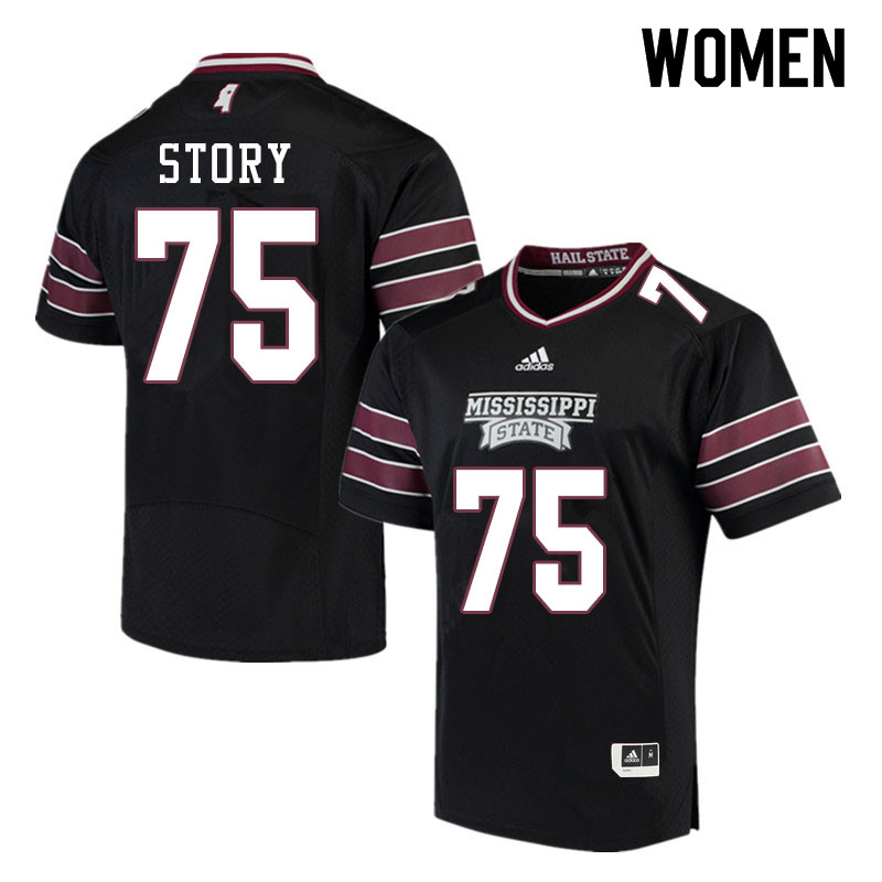 Women #75 Michael Story Mississippi State Bulldogs College Football Jerseys Sale-Black
