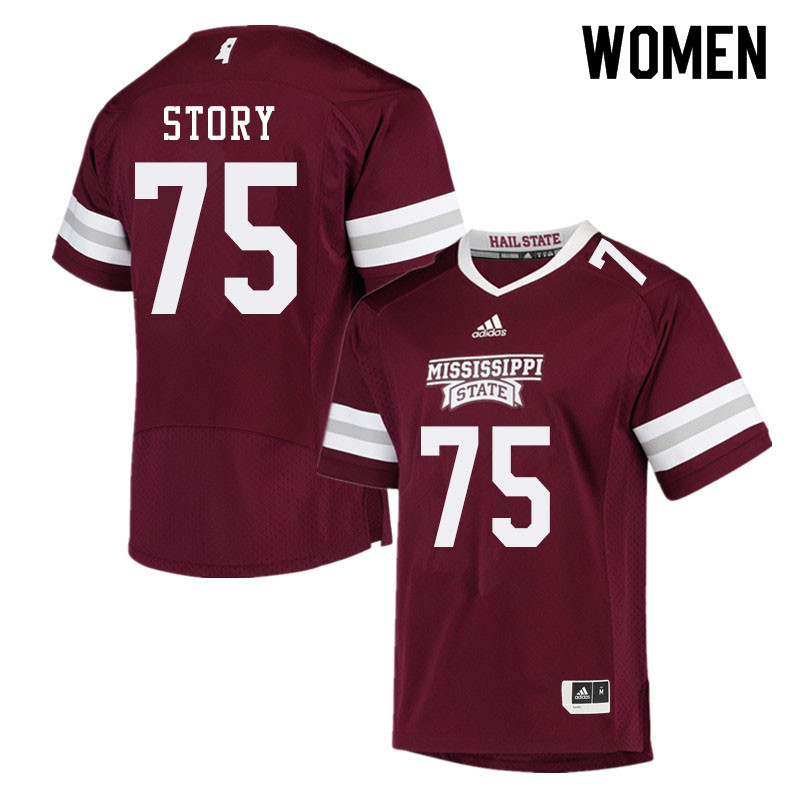 Women #75 Michael Story Mississippi State Bulldogs College Football Jerseys Sale-Maroon