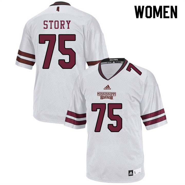Women #75 Michael Story Mississippi State Bulldogs College Football Jerseys Sale-White
