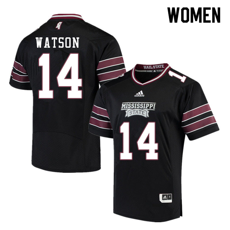 Women #14 Nathaniel Watson Mississippi State Bulldogs College Football Jerseys Sale-Black
