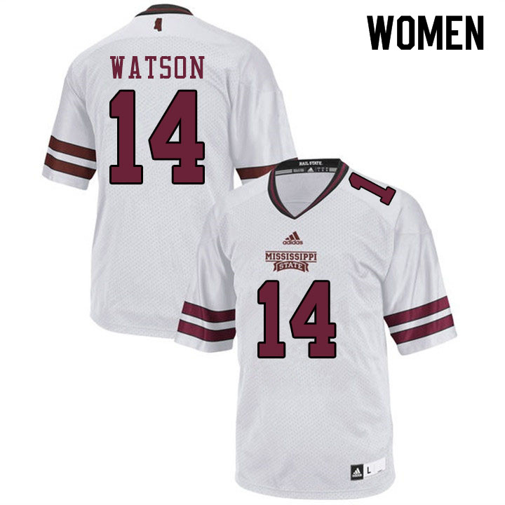 Women #14 Nathaniel Watson Mississippi State Bulldogs College Football Jerseys Sale-White