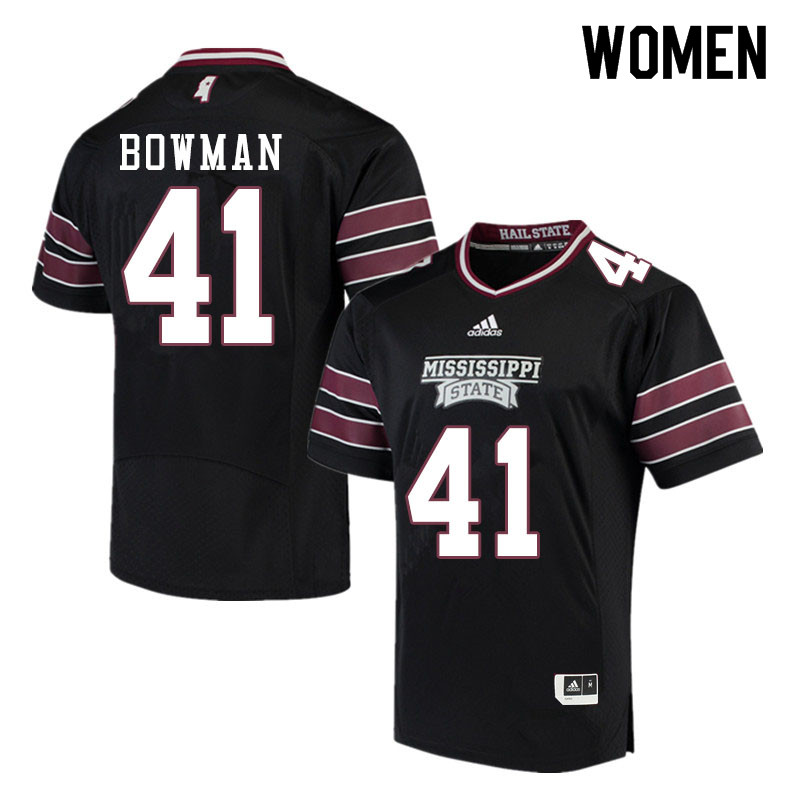 Women #41 Reed Bowman Mississippi State Bulldogs College Football Jerseys Sale-Black