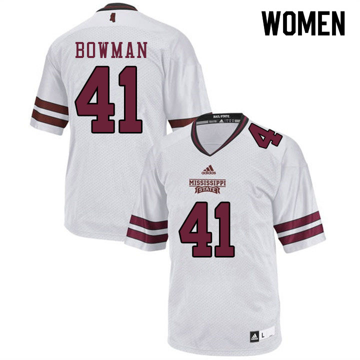 Women #41 Reed Bowman Mississippi State Bulldogs College Football Jerseys Sale-White