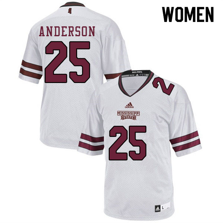 Women #25 Somon Anderson Mississippi State Bulldogs College Football Jerseys Sale-White