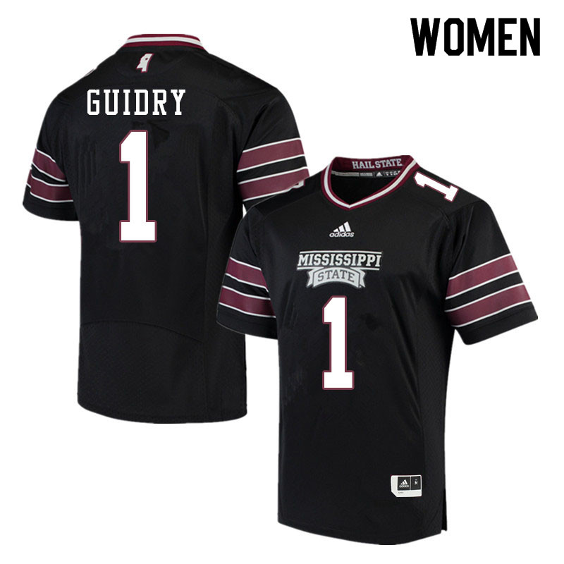 Women #1 Stephen Guidry Mississippi State Bulldogs College Football Jerseys Sale-Black