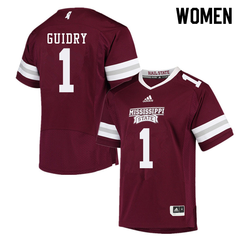 Women #1 Stephen Guidry Mississippi State Bulldogs College Football Jerseys Sale-Maroon