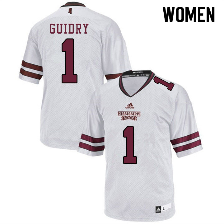 Women #1 Stephen Guidry Mississippi State Bulldogs College Football Jerseys Sale-White